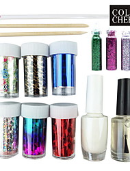 Nail Art Laser Foil Starry Set(6 Random Foil Designs,Glue,Top Coat,3 Decoration,3 Stick)
