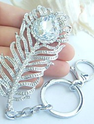 Peacock Feather KeyChain Handbags Pendant With Clear Rhinestone crystals