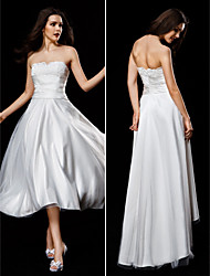 Lanting A-line Wedding Dress - Ivory Asymmetrical Strapless Satin/Tulle