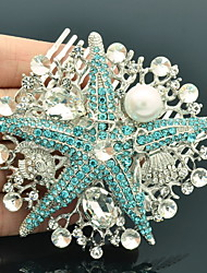 Alloy Rhinestone Women Wedding Prom Flower Girl Leaves Flower Hair Comb (2 Colors)