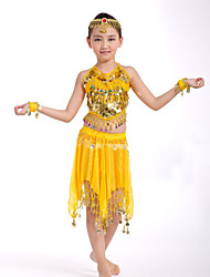 Belly Dance Performance Outfits Children's Performance Polyester Sweet Coins Outfit Yellow Kids Dance Costumes