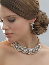 Women's Silver/Alloy Wedding/Party Jewelry Set With Rhinestone White Rhinestones/Crystal/Diamond For BridalImitation Diamond Birthstone