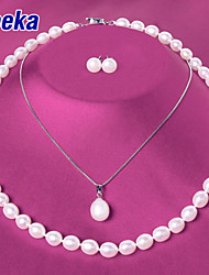 Veeka Jewelry Sets Freshwater Pearl Necklace with Stud Earrings 925 Sterling Silver Pendants Wedding Jewelry