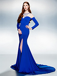 Formal Evening Dress Trumpet / Mermaid Jewel Court Train Jersey with Beading / Crystal Detailing / Split Front