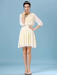 Women's Casual Micro-elastic ½ Length Sleeve Knee-length Dress (Chiffon)