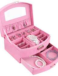 Lavie®Pink Flannel Fan-shaped Jewelry Box, Easy to Travel to Carry Organize Admission