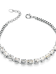 T&C Women's Shining 18K White Gold Plated Clear Austria Crystal Simulated Diamond Tennis Bracelet