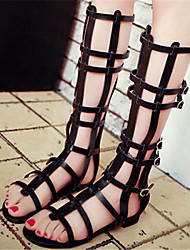 Sandálias ( Borracha , Preto ) Sapatos de Senhora - Salto Raso - 0-3cm