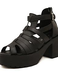 Keilabsatz - 6-9cm - Damenschuhe - Sandalen ( PU , Schwarz )