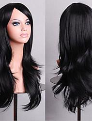 70 cm de long volume d'air de cheveux noirs bouclés haute température perruque de soie
