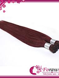 "Top Quality 100% Human  Prebonded Brazilian Hair Extensions I Tip #99J Dark Wine Straight  100g/lot  18""-24"""