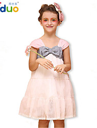 Girl's Kids Bowknot Short Sleeve Pageant Party Little Princess Ball Gown Dress Pink/White