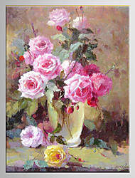 Oil Painting Flower European Style Hand Painted Canvas with Stretched Framed