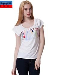 cmfc®women Print T-Shirt lässig Runde Collart Pullover Hemd Allgleiches Art und Weise style top Kleidung