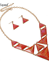 Brand Hot Selling Geometric Green/Red Resin Gold/Silver Chain Statement Jewelry Set Earring and Necklace for Women JS150152