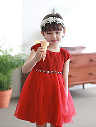 Girl's Short-sleeved Embroidered Gauze Tutu Princess Dress
