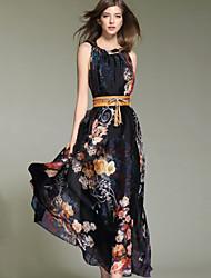 Women's Blue/Black Dress , Sexy/Beach/Casual/Cute/Maxi Sleeveless