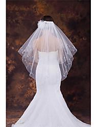 Wedding Veil Two-tier Fingertip Veils Cut Edge