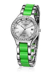 caja de la aleación analógico calendario de las mujeres ronda marcar reloj mujeres del reloj de cuarzo del regalo del reloj de moda chino