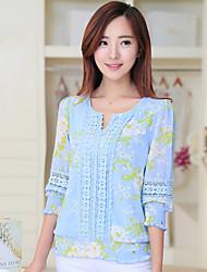Women's Blue Blouse Short Sleeve