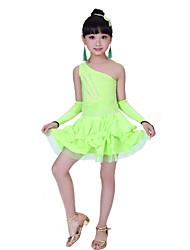 Vestidos(Negro / Verde / Rojo,Poliéster,Danza Latina / Desempeño) -Danza Latina / Desempeño- paraNiños Cristales/Rhinestones / Plisado