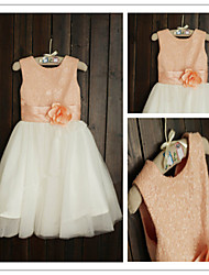 A-line Tea-length Flower Girl Dress - Tulle / Sequined Short Sleeve Jewel with