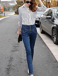 женские упругие талии джинсы