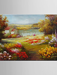 Oil Painting Pastoral Scenery Floral/Botanical Paintings Flower Decoration Hand Painted Canvas with Stretched Framed L/XL