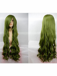 Hot Sale 40 Inches High Temperature Fiber Long Curly Cyan Cosplay Costume Wig Side Bang