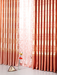 Dining Room Pink Jacquard Process Europ Style Curtains Two Panels