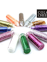 12PCS Multi-Color Glitter Pulver Nail Art Dekorationen