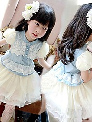 Kid's Casual/Cute/Party Dresses (Cotton Blend/Mesh/Polyester)