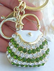 bolsa pingente de bolsa chaveiro wwith verde&cristal strass clara