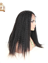 "10""-26"" Glueless Full Lace Wig Kinky Straight Malaysian Virgin Hair Color #1B Natural Black Baby Hair for Black Women"