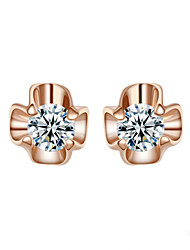T&C Women's Lovely Gold Flower Crystal 18K Rose Gold Plated Stud Earrings Jewelry Austrian Crystal