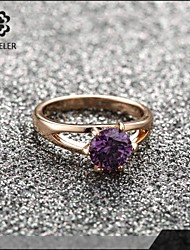 2015 Latest Plating Rpse Gold Zircon Wedding Ring