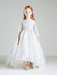 Ball Gown Sweep / Brush Train Flower Girl Dress - Satin 3/4 Length Sleeve V-neck with