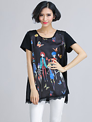 Women's Print/Character/Patchwork/Lace Black Blouse , Round Neck Short Sleeve Lace