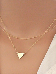Women's Simple Fashion Metal Triangle Pendant Double Necklace