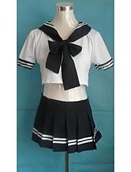 Saucy Garota azul escuro e branco Escola poliéster uniforme
