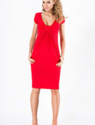 Women's Sexy Low Cut Solid Color Short Sleeved Dress