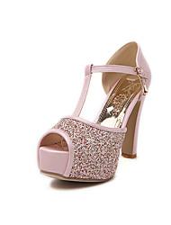 Women's Shoes Glitter Stiletto Heel Peep Toe/Platform Sandals Dress Pink/White/Beige