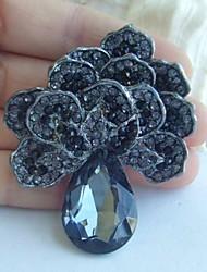 Women Accessories Black Gray Rhinestone Crystal Flower Brooch Art Deco Crystal Brooch Bouquet Women Jewelry