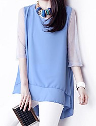 Women's Casual Plus Sizes Inelastic ¾ Sleeve Long Blouse (Chiffon)