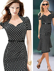 Women's Polka Dot Black Dresses , Vintage / Casual / Party Square Short Sleeve