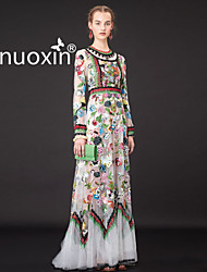 nuoxin® Women's Round Collar Long Sleeve Collect Waist Bud Silk Embroidered Elegant Pure Silk Dress