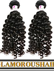 "3 Pcs/Lot 8""-34"" Top Grade 6a Peruvian Virgin Hair Natural Black Color Curly Human Hair Weave"