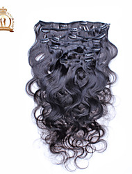 "10""-20"" Eurasian Virgin Hair Body Wave clip in human hair extensions Natural Black Baby Hair"