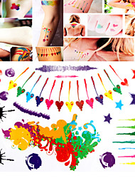 1 PC Tattoo Stickers Watercolor Mixed  for Body Makeup S008