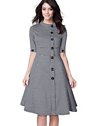 Women's Casual Stand-Up Collar Vintage Houndstooth-Print Dress
